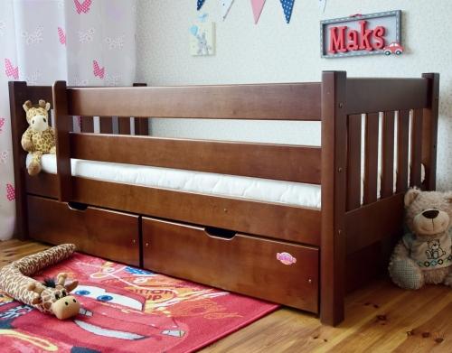 Łóżko dla nastolatków 180 x 80 cm, drewno olcha