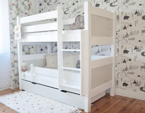 Nowoczesne białe łóżko z szufladami i barierką - dla dziewczynek i chłopców