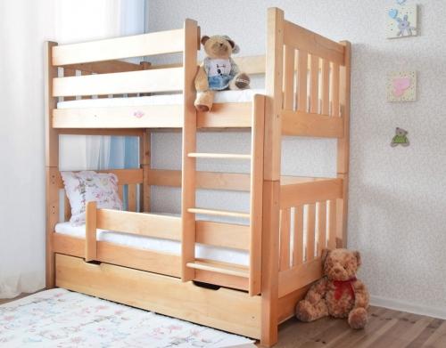 Łóżko piętrowe  z olchy PINGWIN , proste szczyty,...