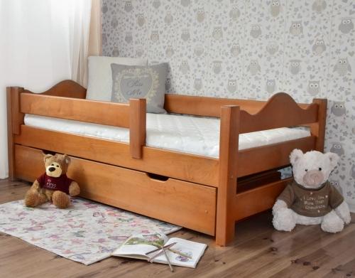 Łóżko dla dzieci DUTTI 160 x 80 falisty szczyt, miodowy
