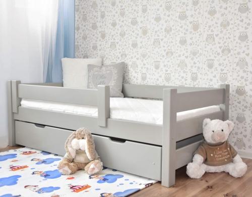 Łóżko dla dzieci DUTTI 160 x 80 proste szczyty, szary