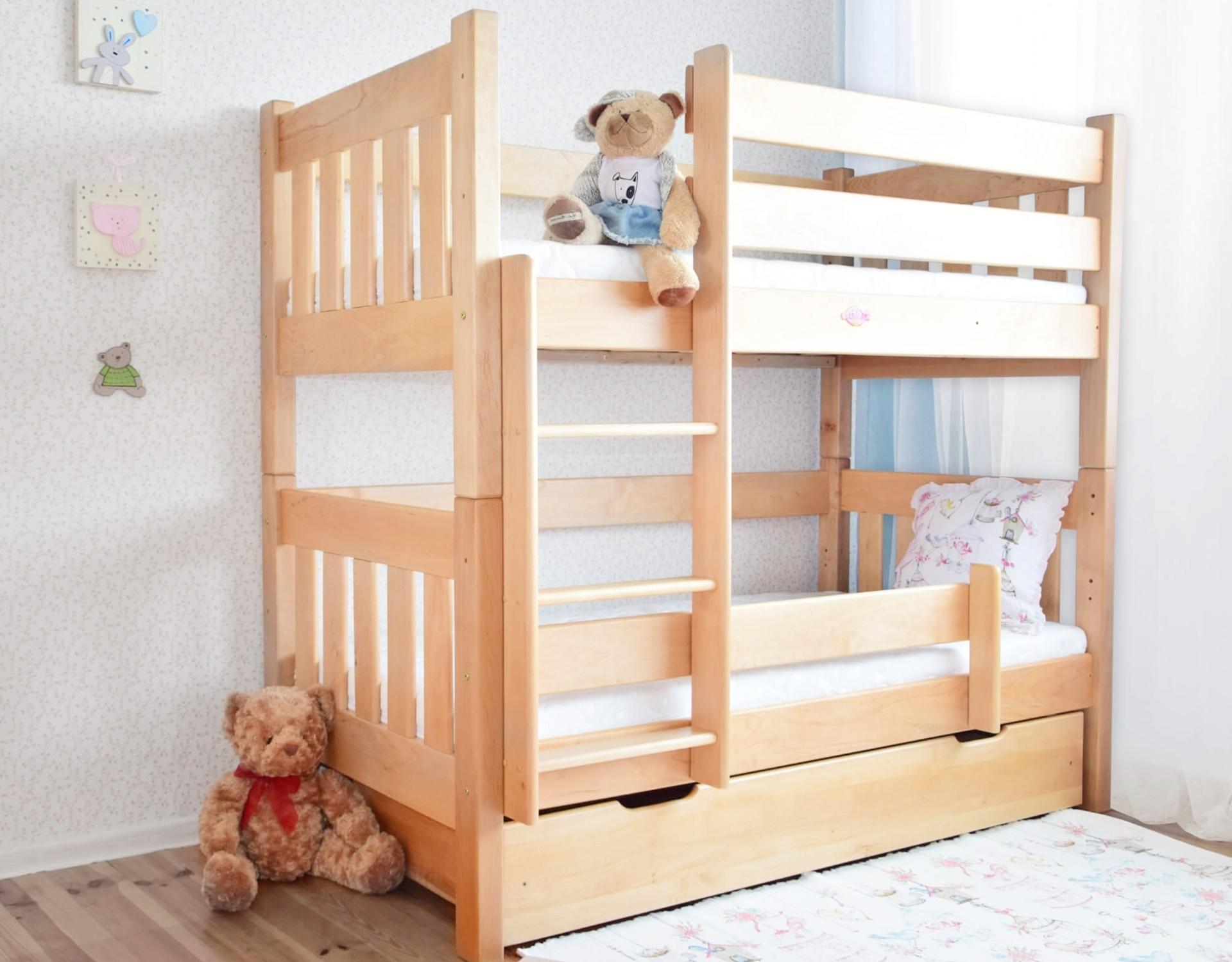 łóżko Piętrowe Z Olchy Pingwin Proste Szczyty Drewniane Olcha