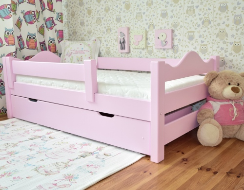 Łóżko dla dzieci DUTTI 160 x 80 z falą , pudrowy róż
