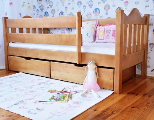Łóżko dla dzieci MAXI , miodowe drewno olcha