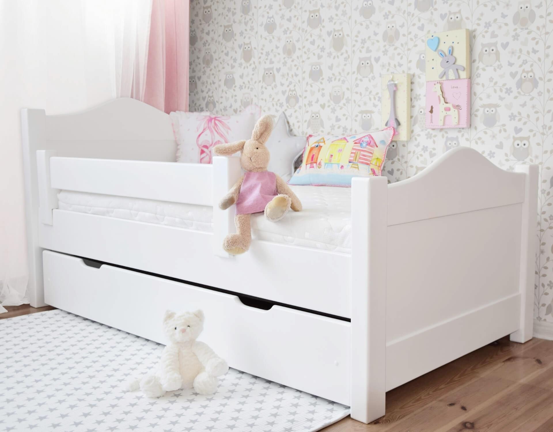 łóżeczko Finiss Z Szufladą I Barierką Olchowe Białe Wymiar łóżka Pod Materac 160 X 80
