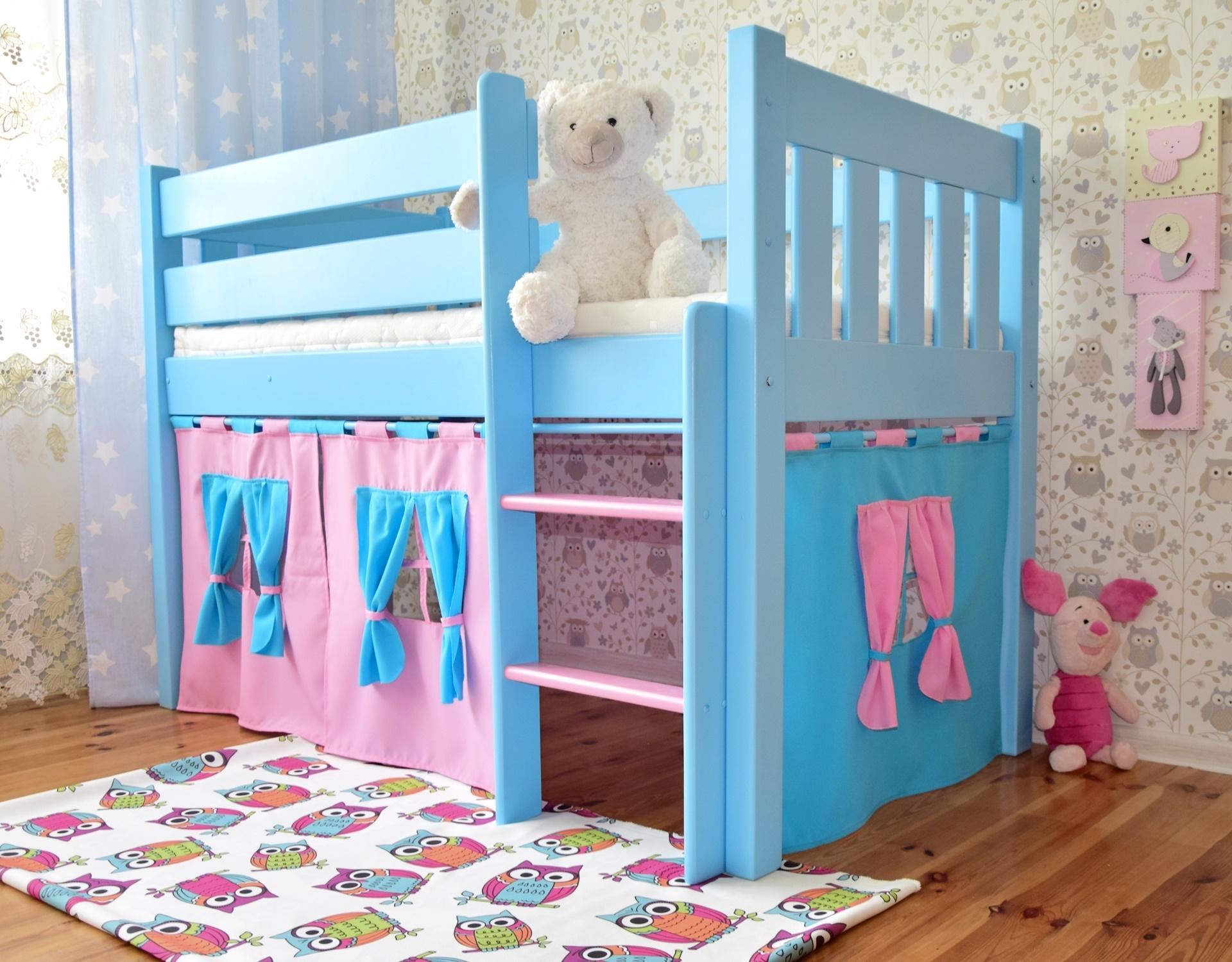 Błękitne łóżko Dla Dzieci Antresola Zameczek 16080