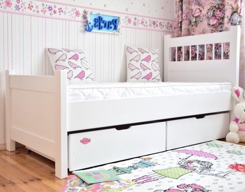 Łóżko młodzieżowe Parys 180x80 z szufladami , kolor biały