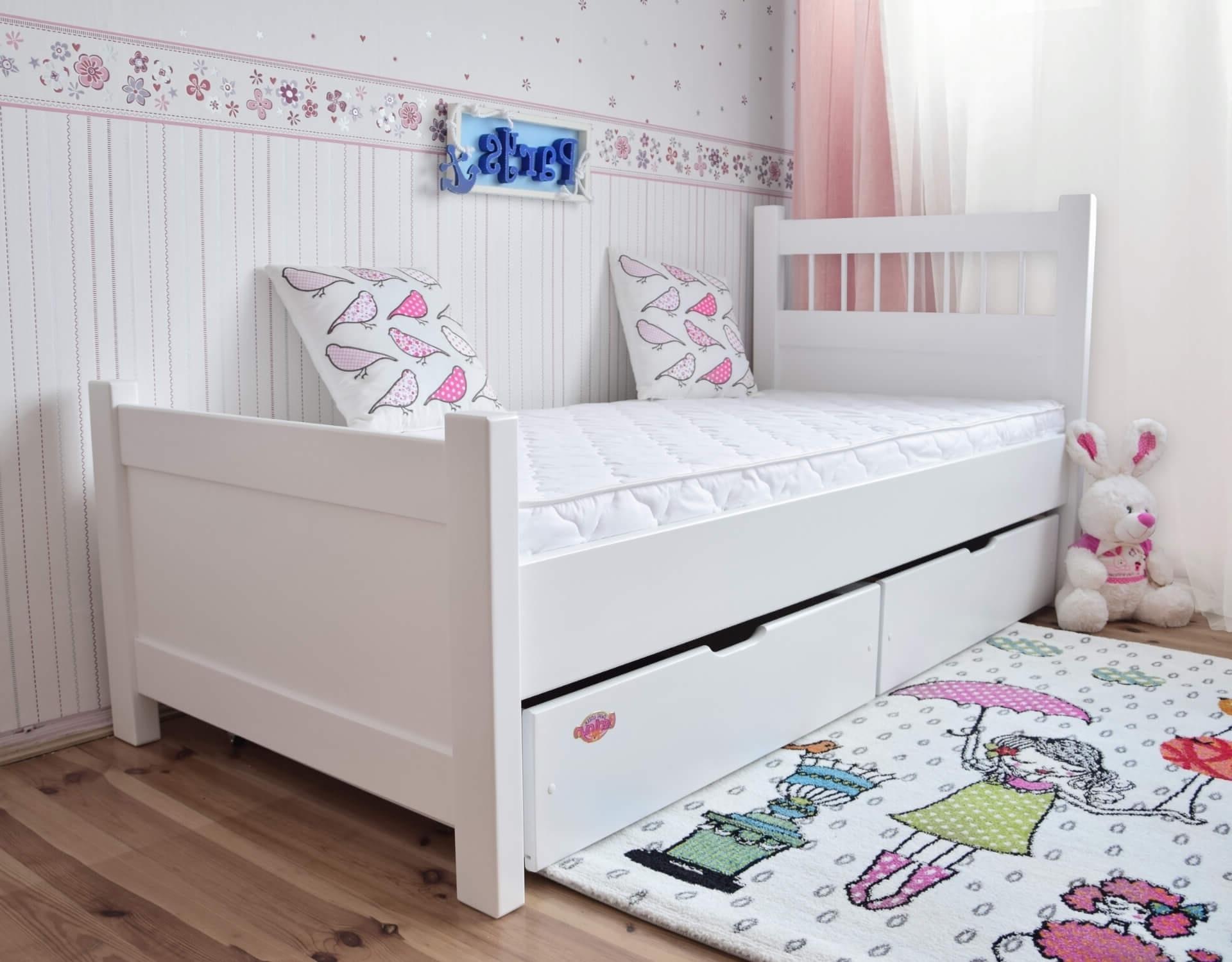 łóżko Młodzieżowe Parys 180x80 Z Szufladami Kolor Biały