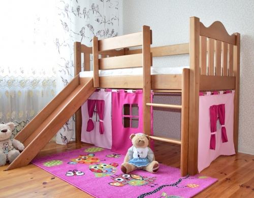 Łóżko dla dzieci Zameczek ze zjeżdżalnią miodowe