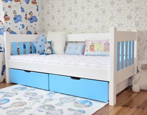 """Łóżko drewniane """"Sofka MAXI """"  łóżko z szufladami , biało..."""