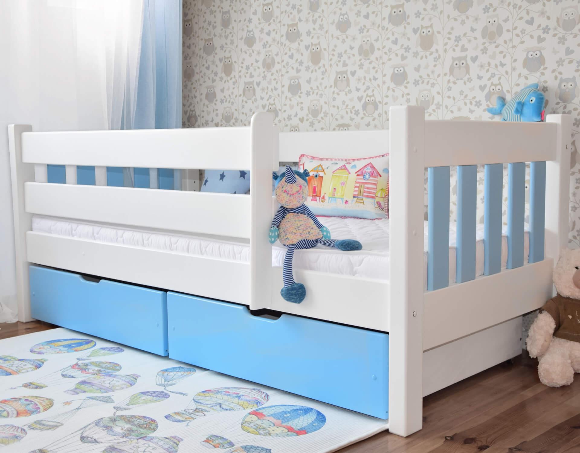 łóżko Dla Dzieci Max 180 X 80 Z Szufladami Biało Błękitne