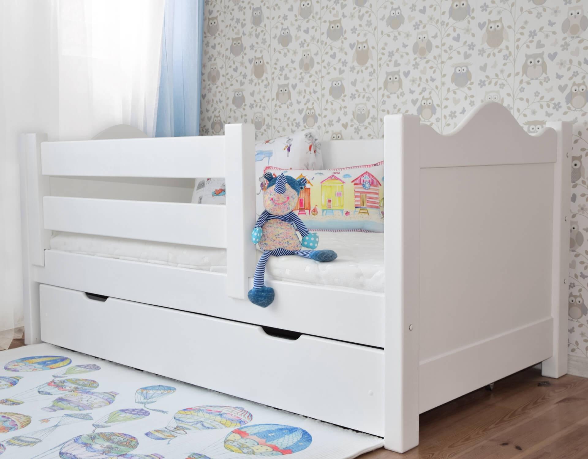 łóżko Dla Dzieci Basia Z Barierką I Szufladą Białe Wymiar łóżka Pod Materac 160 X 80