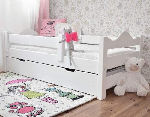 Łóżko dla dzieci DUTTI 160 x 80 falisty szczyt, białe