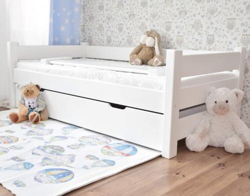 Łóżko DUTTI 160 x 80 z szufladą, prosty szczyt, biały