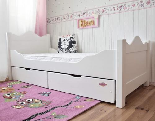 Łóżko fantazyjne KLARA z szufladami, białe