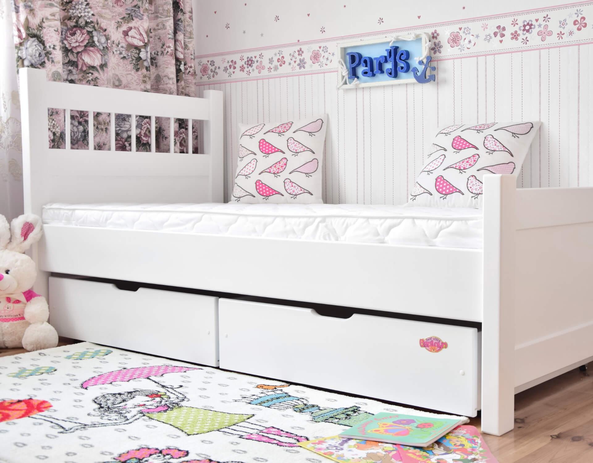 łóżko Młodzieżowe Parys 180x80 Barierka I Szuflady