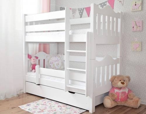 Łóżko piętrowe drewniane PINGWIN , faliste szczyty, białe